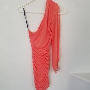 Neon coral one-shoulder dress